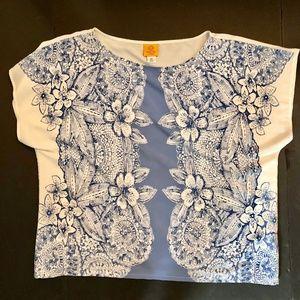Ruby Rd Woman Blue Floral Print Shell Blouse 18W